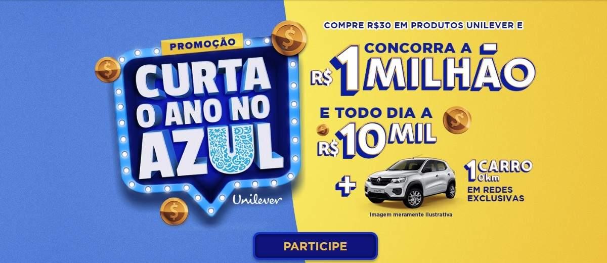 Promoção Unilever Curta Ano 2020 no Azul 1 Milhão Reais, 10 Mil Todo Dia e Carro
