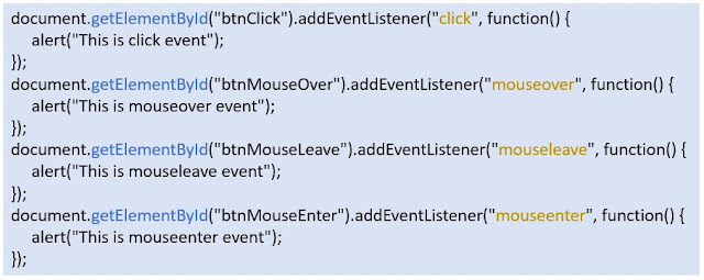Javascript code for the mouse events' example