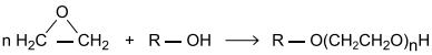 FAMEMA 2021: Etilenoglicol e éteres do etilenoglicol podem ser produzidos por meio da reação entre o óxido de etileno e água ou entre o óxido de etileno e álcoois, conforme a reação genérica a seguir, em que R pode ser o hidrogênio ou um radical alquila (metil, etil, etc.).