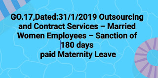GO.MS.No.17,Dated:31/01/2019  Public Services – Outsourcing and Contract Services – Married Women Employees – Sanction of one hundred and eighty (180) days paid Maternity Leave– Orders – Issued