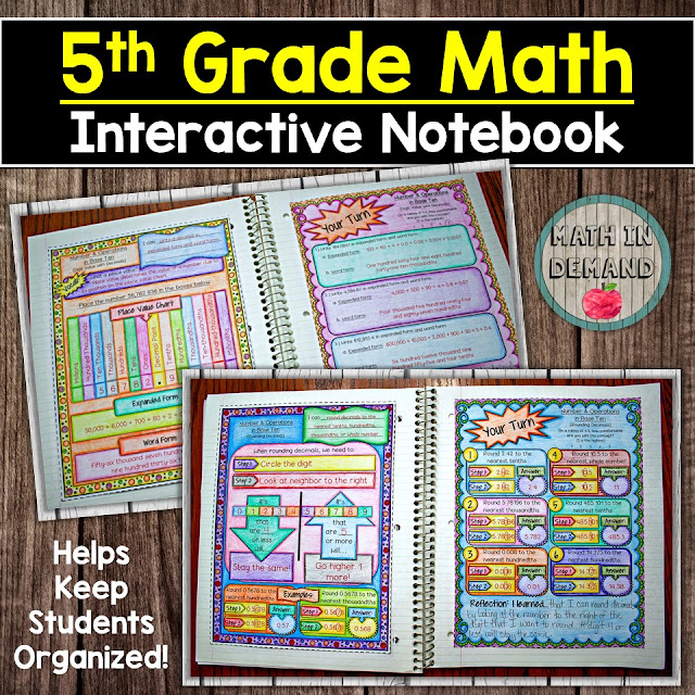 5th Grade Math Interactive Notebook Distance Learning