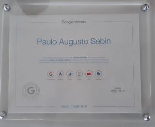 Exemplo de certificado Google Partners - consultoria de SEO