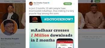 mAadhaar, Valid ID For Train Travel, Crosses 10 Lakh Download In 2 Months.