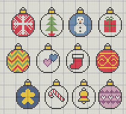 Buzy Bobbins Christmas Bauble Themed Motif Cross Stitch