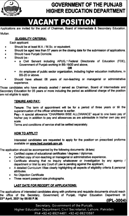 New Jobs in Punjab Higher Education Department April 2021