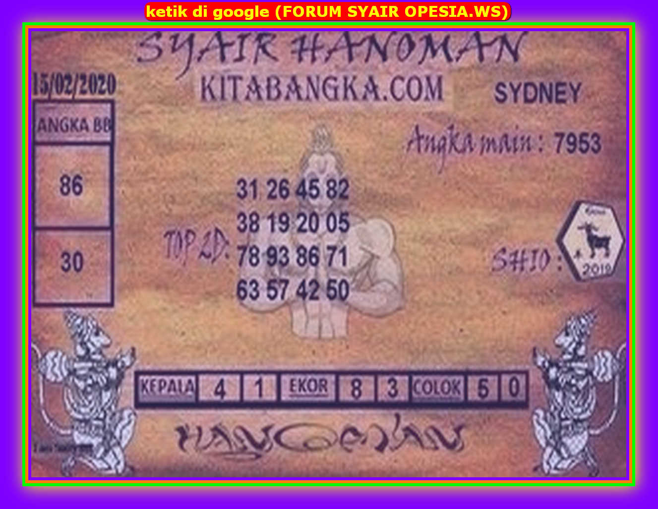 Kode syair Sydney Sabtu 15 Februari 2020 76
