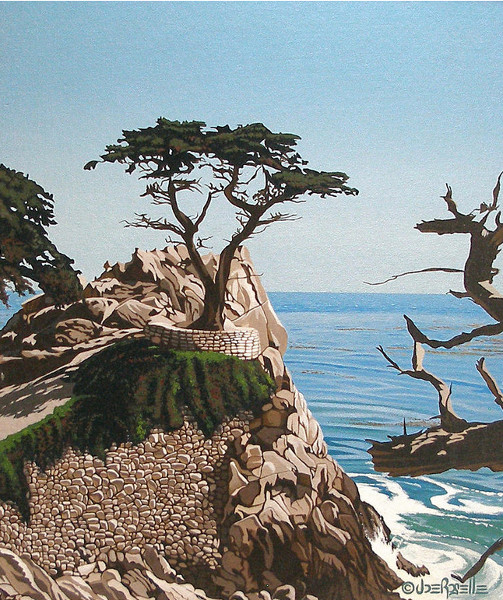 Lone Cypress, by Joe Roselle - Acrylic On Canvas Board