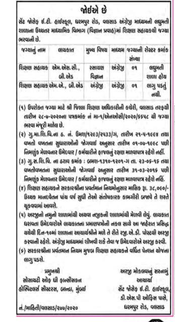 02 Posts - St. Joseph E.T. High School Valsad Recruitment for Shikshan Sahayak 2020