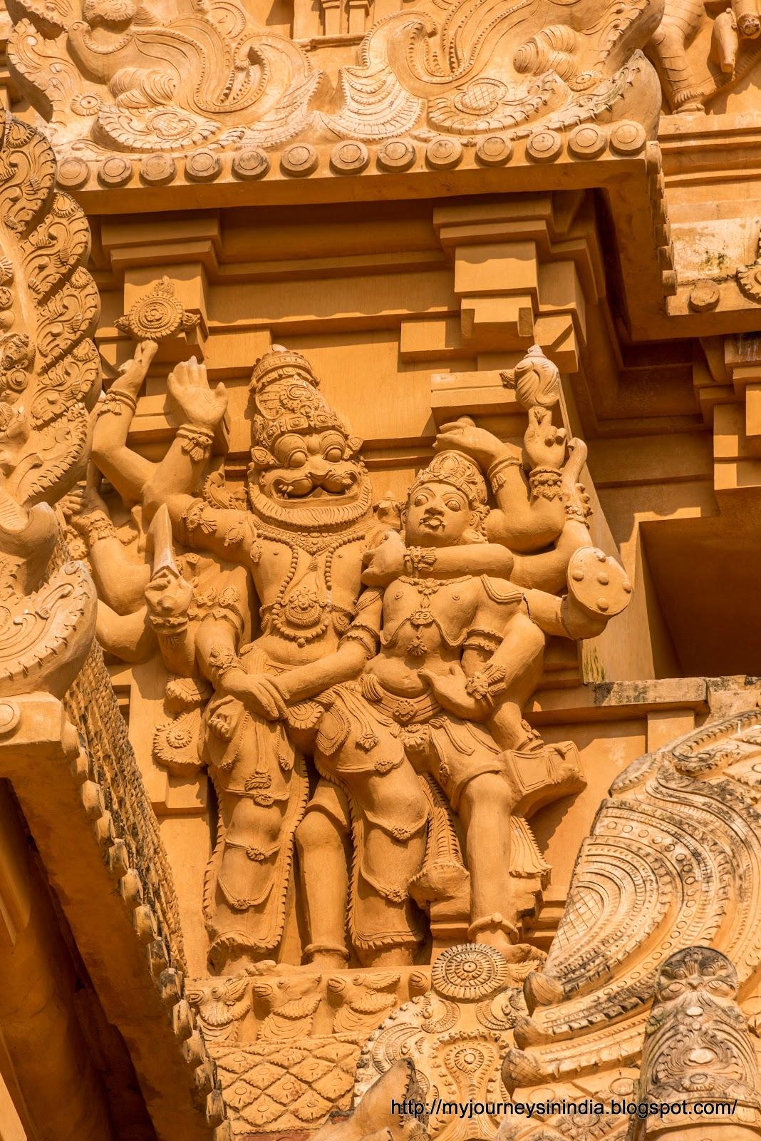 Thanjavur Brihadeeswarar Temple Tower sculptures Narasimha
