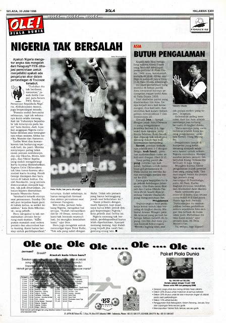PIALA DUNIA 1998 NIGERIA TAK BERSALAH