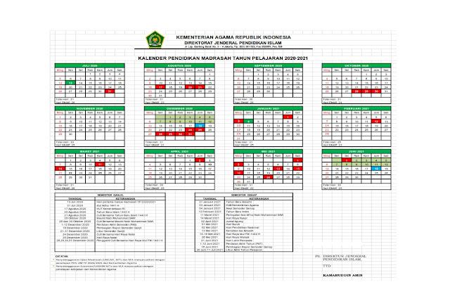Kalender Pendidikan Madrasah TP 2020-2021