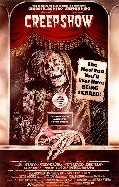"Movie poster for Warner Bros. and George A. Romero's 1982 horror movie anthology ""Creepshow,"" starring Hal Holbrook, Adrienne Barbeau, Leslie Nielsen, Ed Harris, Ted Danson, Stephen King"
