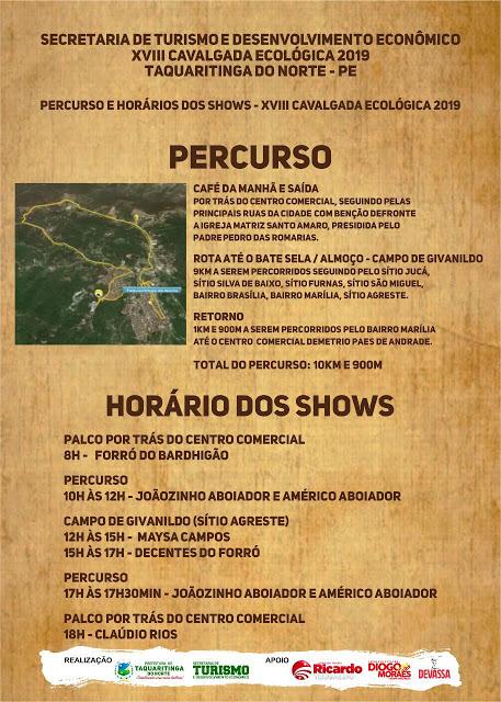 Prefeitura de Taquaritinga do Norte divulga trajeto da XVIII Cavalgada Ecológica