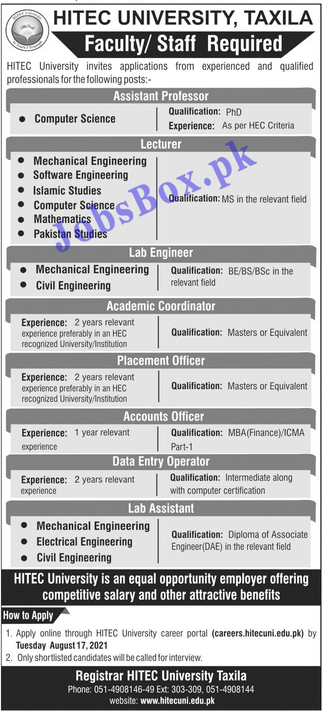 careers.hitecuni.edu.pk - HITEC University Taxila Jobs 2021 in Pakistan
