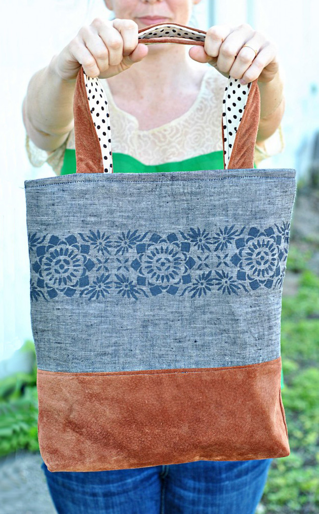 Linen and Leather Tote Bag Tutorial