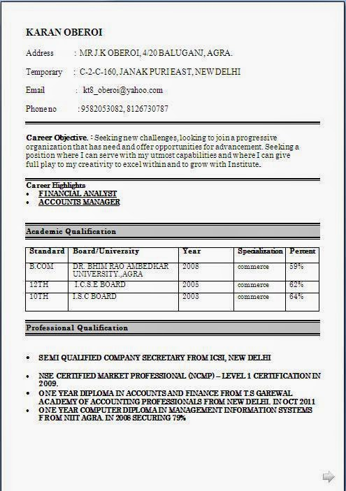 resume format of arcelormittal