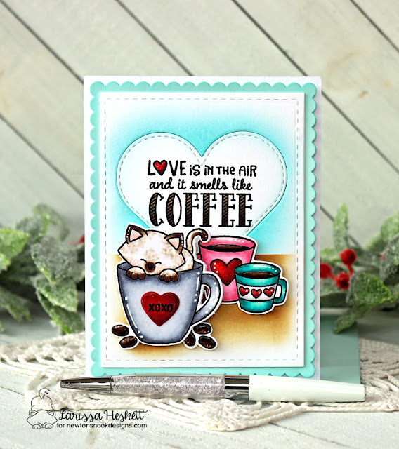 Coffee Love card by Larissa Heskett | Love Café Stamp Set, Newton's Mug Stamp Set, Heart Frames Die Set and Frames & Flags Die Set by Newton's Nook Designs