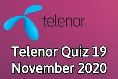 Telenor Quiz 19 November 2020 || Telenor Answers 19 nov 2020