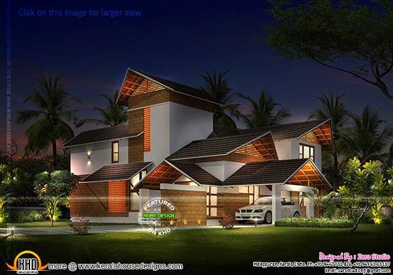 Sloped roof house night view