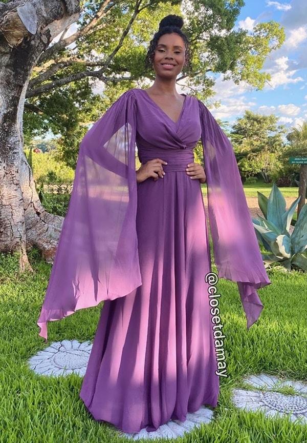 vestido de festa longo cor uva para casamento