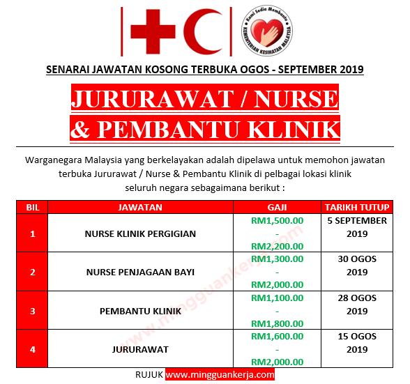 Senarai Jawatan Kosong Terbuka Jururawat Nurse Pembantu Klinik Ogos September 2019 Mingguan Kerja