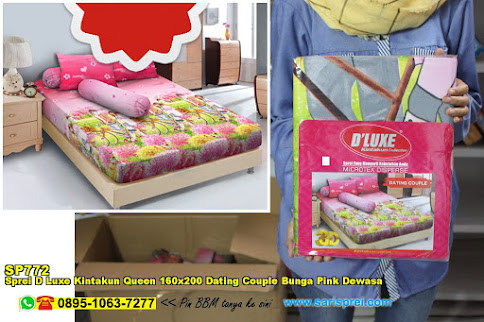 Sprei D Luxe Kintakun Queen 160x200 Dating Couple Bunga Pink Dewasa