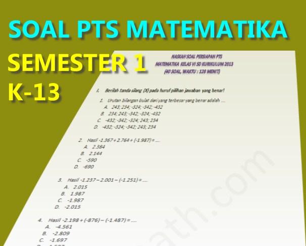 Soal Dan Pembahasan Pts Uts Matematika Kelas 6 Semester 1 Kurikulum 2013 Tahun 2019 Fastest Math