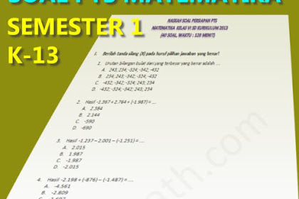 Soal dan Pembahasan PTS/UTS Matematika Kelas 6 Semester 1 Kurikulum 2013 tahun 2019