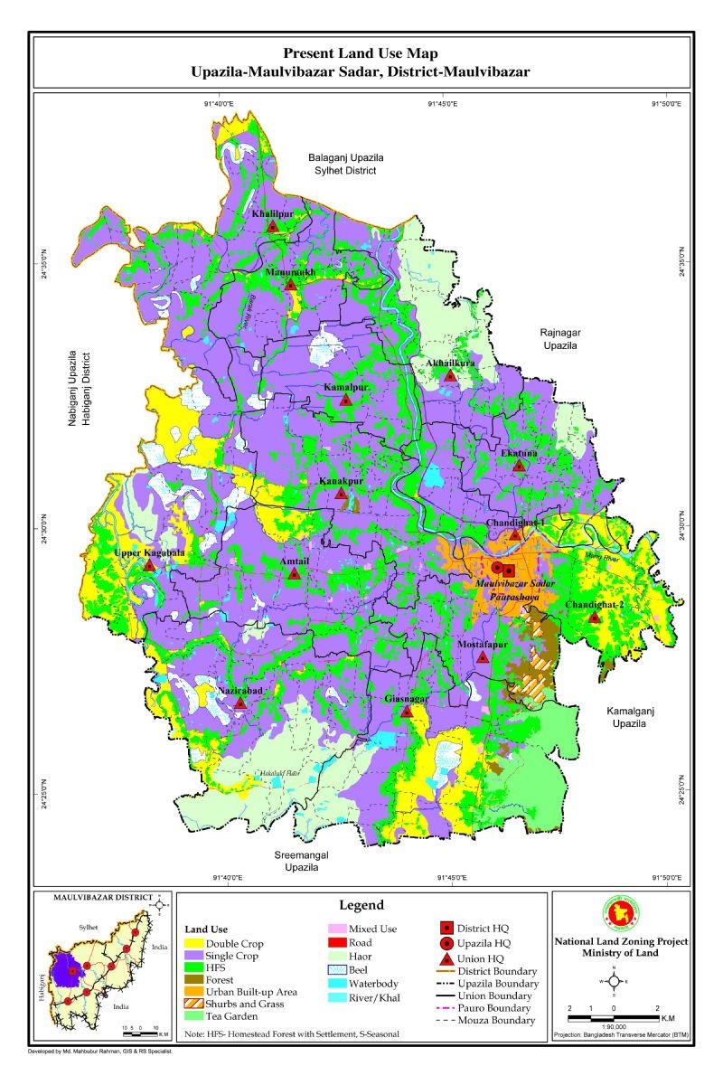 Moulvibazar Sadar Upazila Mouza Map Moulvibazar District Bangladesh