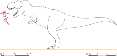 Scale drawing comparing Captain Marvel and tyrannosaur