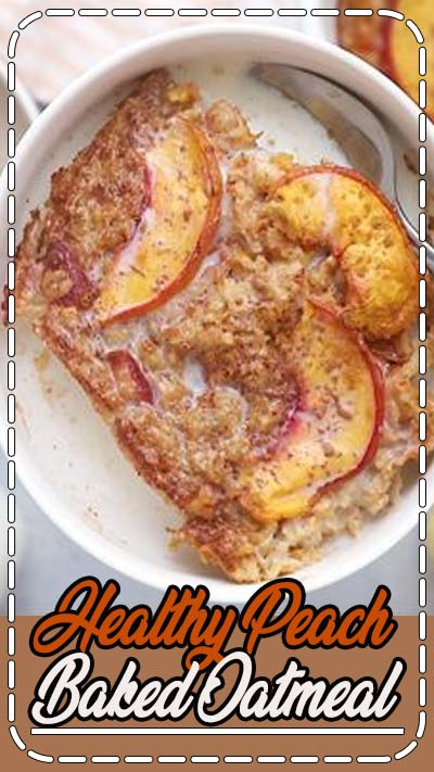 A healthy baked oatmeal recipe using one of my favorite summer fruits: peaches! Make ahead for meal prep or a weekend brunch. #eatingbirdfood #healthybreakfast #bakedoatmeal #oatmeal #peach #peachoatmeal #glutenfree #vegan #mealprep