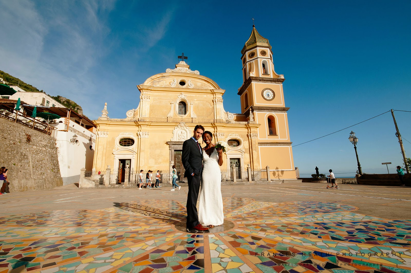 Bride and groom portrait in Praiano