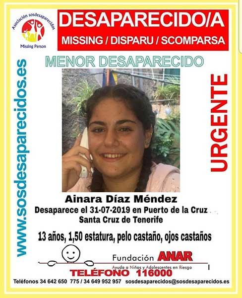 La menor Ainara Díaz, desaparecida en Puerto de La Cruz, Tenerife