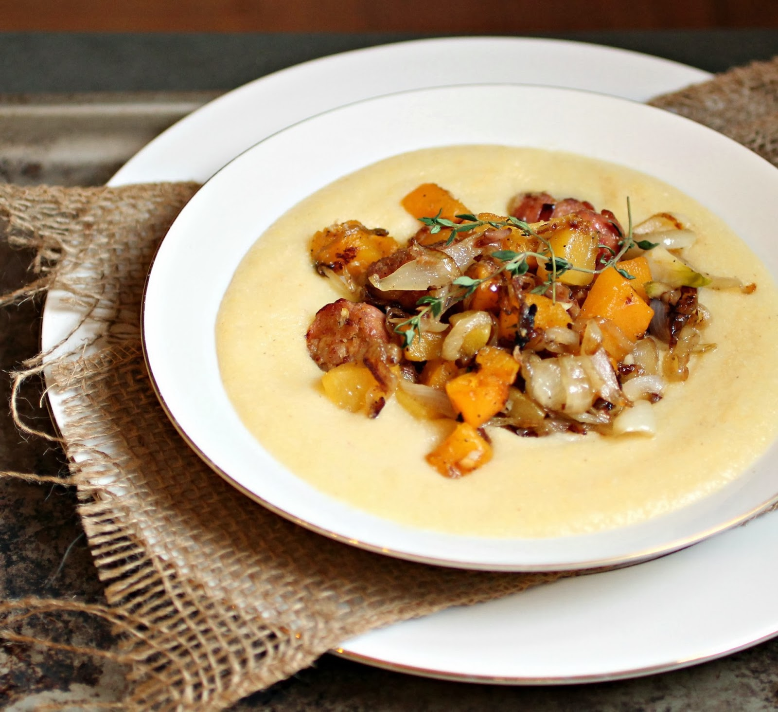 Polenta with Butternut Squash, Sausage and Caramelized Onions