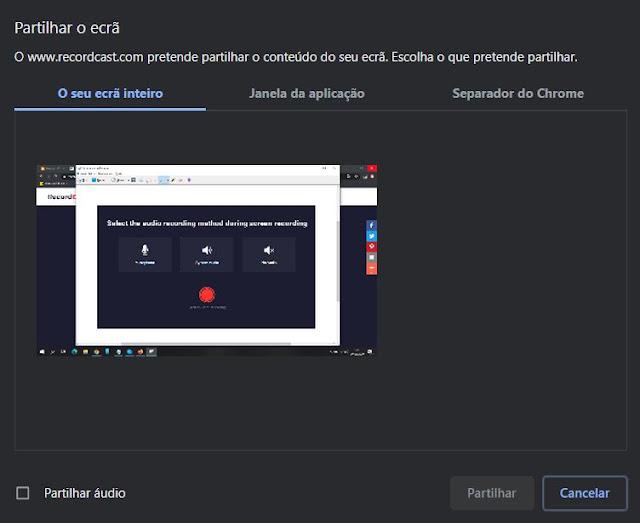 RecordCast - simples e gratuita ferramenta para gravares o teu ecrã