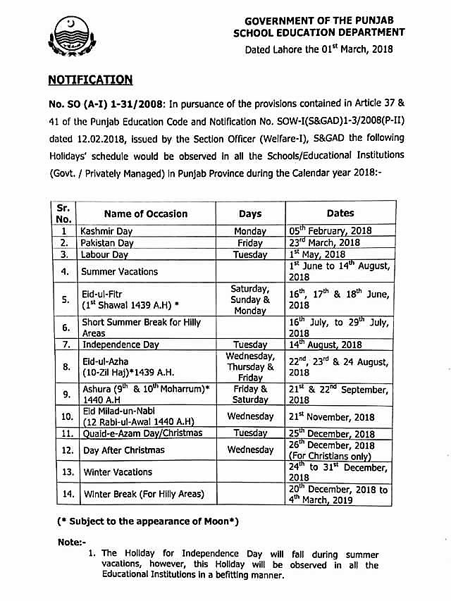 HOLIDAYS SCHEDULE FOR SCHOOLS / EDUCATIONAL INSTITUTIONS IN PUNJAB PROVINCE DURING CALENDAR YEAR 2018
