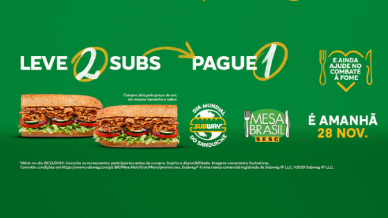 dia mundial do sanduiche subway leve 2 e pague 1