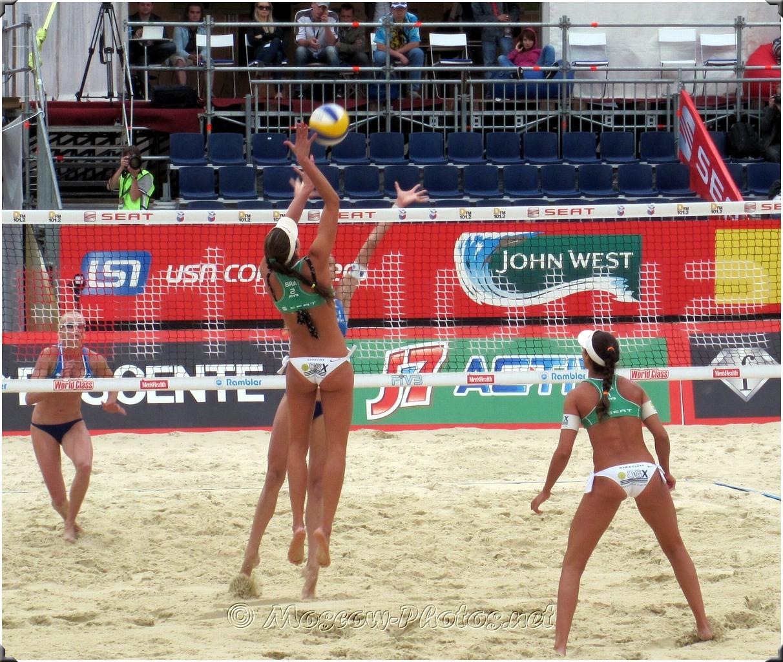 Attack of Brazilian Beach Volleyball Team