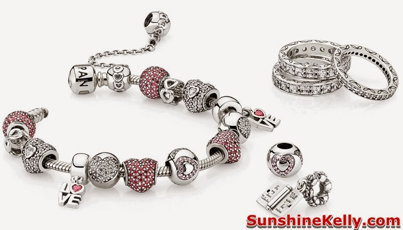 Pandora, Valentine's Collection 2014, Pandora Valentine's Collection 2014, bonds of love, charm bracelet, charms, pave charms, pink cubic zirconia stones, cubic zirconia stones, sterling silver, pandora charms, heart shaped stones