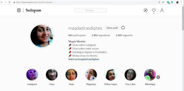 Instagram Mahdadicasdigitais na web.