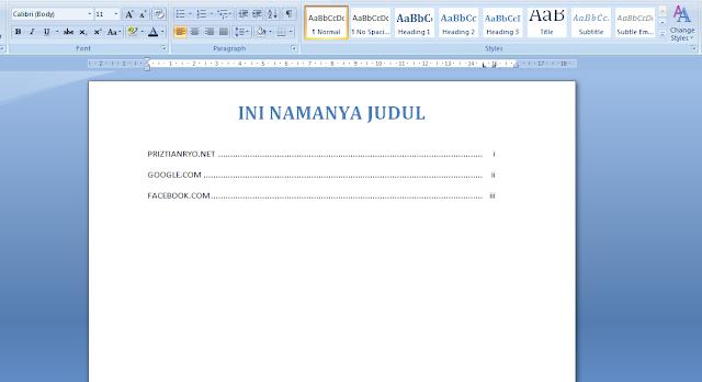 Cara Membuat Daftar Isi Otomatis di MS Word 1