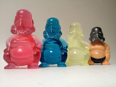 Sumo Trooper Resin Figures by Kris Dulfer - Hazarai Translucent Red, Tenacious Toys Translucent Blue, Chase Glow in the Dark & Hand Painted Flesh
