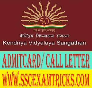 KVS Contractual TGT PGT PRT Admit Card