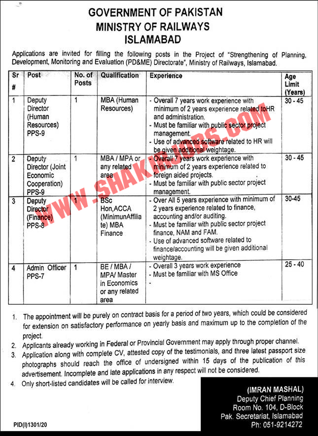Jobs in Ministry of Railways Jobs September 2020