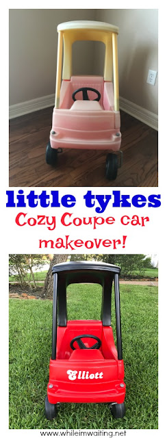 Before/After - a Little Tykes Cozy Coupe car makeover