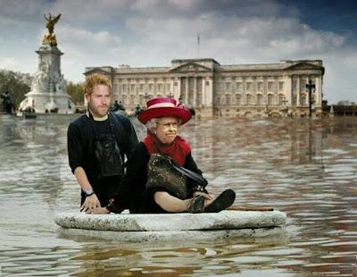 Queen and Prince Harry flee storm Miguel floods