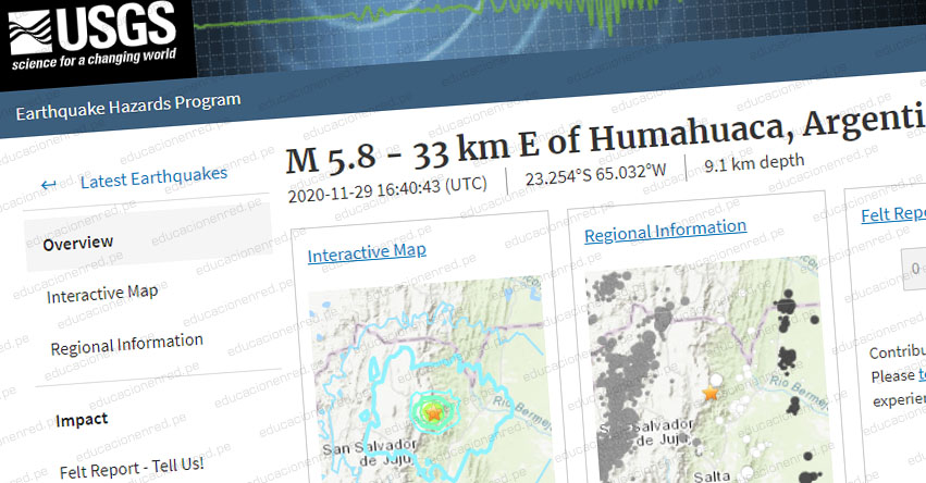 Temblor en Argentina de Magnitud 5.8 (Hoy Domingo 29 Noviembre 2020) Sismo Terremoto Epicentro - Humahuaca - Mendoza - INPRES - www.inpres.gob.ar