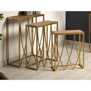 juego mesas de nido altas color oro
