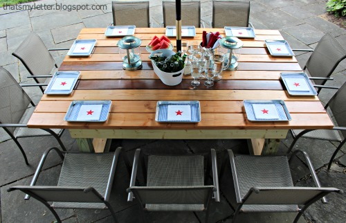 DIY Outdoor Trestle Dining Table