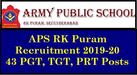 APS RK Puram Recruitment 2019-20 - 43 PGT, TGT, PRT Posts APS RK Puram Recruitment 2019-20 - 43 PGT, TGT, PRT etc. Vacancies | RK Puram Army Public School PGTs , TGTs, PRTs Teachers Recruitment 2018 | Army Public School, RK Puram, Secunderabad 2018 PGT, TGT, PRT & Other Jobs | Degree, Master Degree | Apply Now APS RK Puram Recruitment 2019-20 - 43 PGT, TGT, PRT etc. Vacancies: /2018/12/aps-rk-puram-recruitment-2019-20-43-pgt-tgt-prt-posts-get-details-www.apsrkpuram.edu.in.html